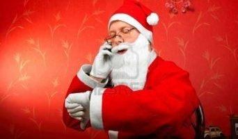 santa claus talking on mobile