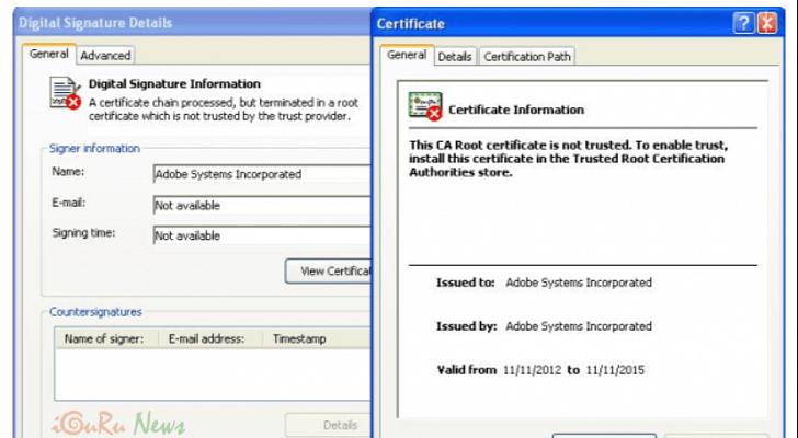 Trojan Uses Fake Adobe Certificate