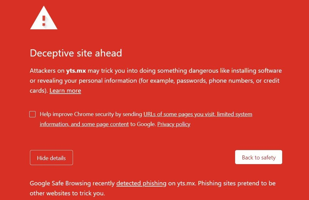 YTS backed up by Chrome and Firefox for phishing