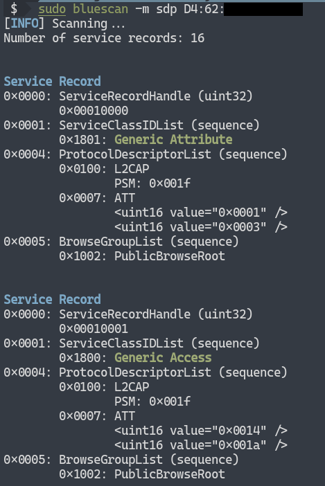 example sdp scan 1 - bluescan: Ένας πανίσχυρος Bluetooth scanner