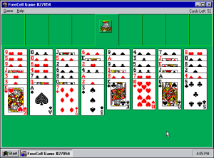 FreeCell, Microsoft, solitaire