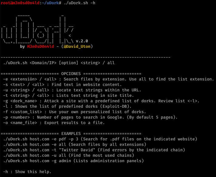 7 - uDork: Google Hacking Tool