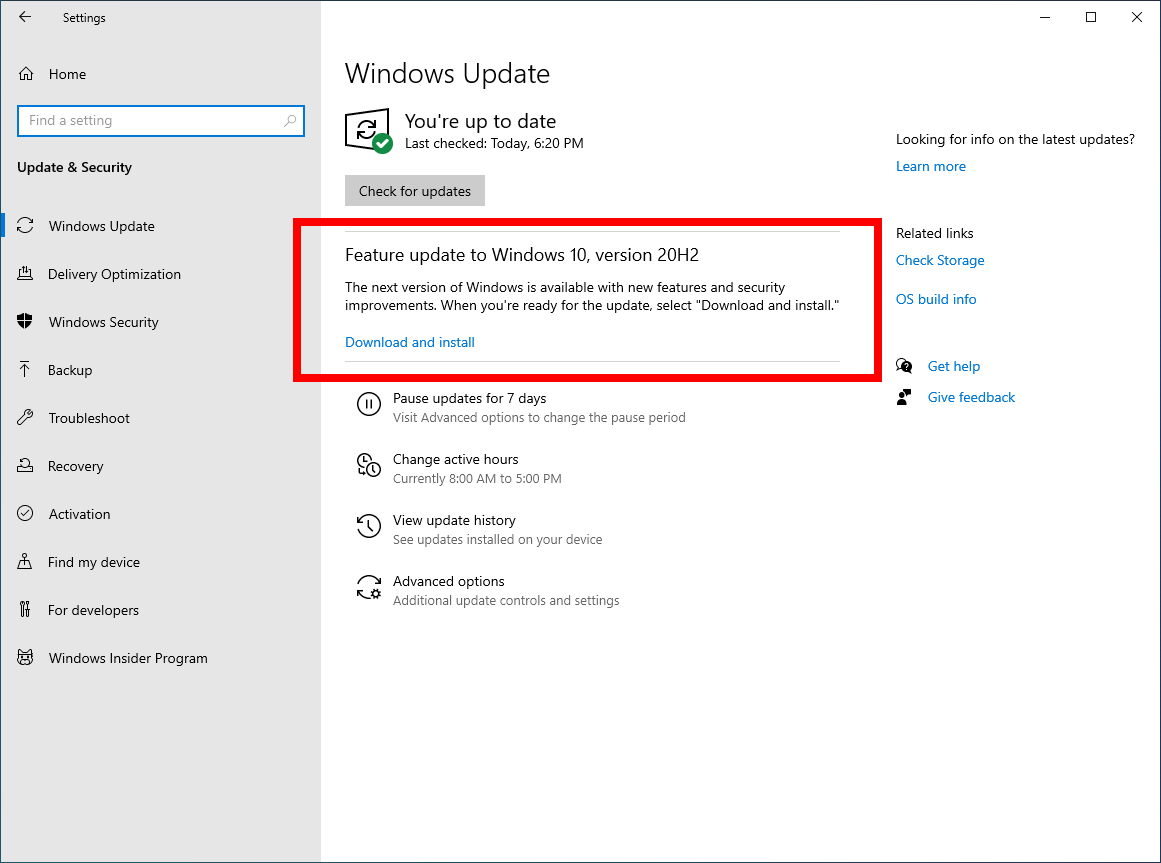7wi - Windows 10 20H2 πως να αναβαθμίσετε σήμερα