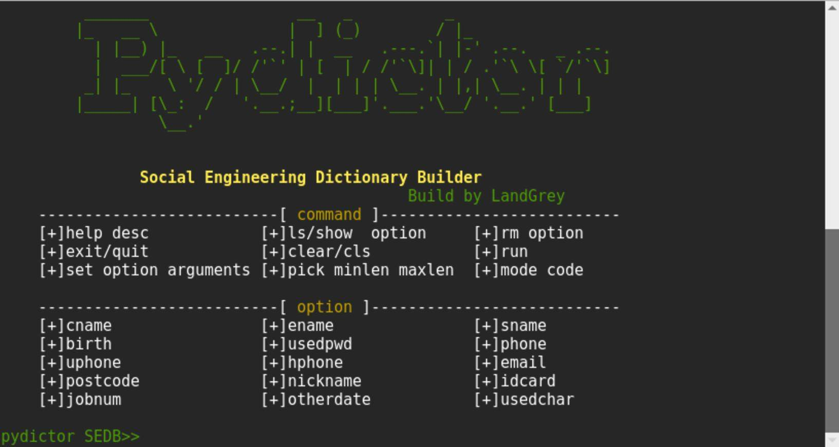 Capture 10 - pydictor: Create dictionaries for brute force attacks