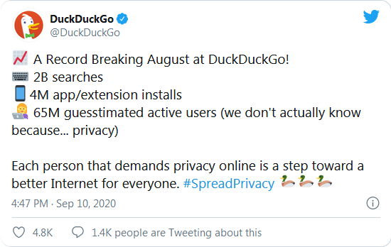 Screenshot 2020 09 18 Privacy focused search engine DuckDuckGo is growing fast - DuckDuckGo πιο δημοφιλής από ποτέ