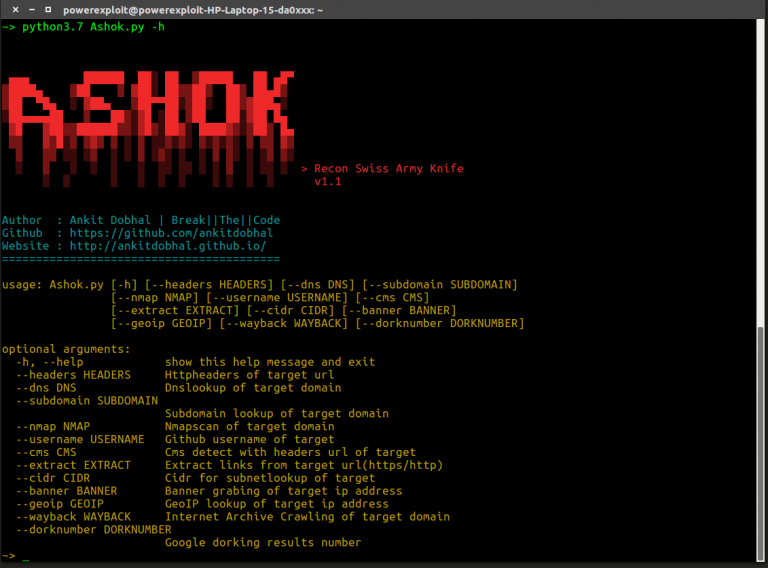 ashok 768x568 1 - Ashok: Swiss Army Knife for Reconnaissance