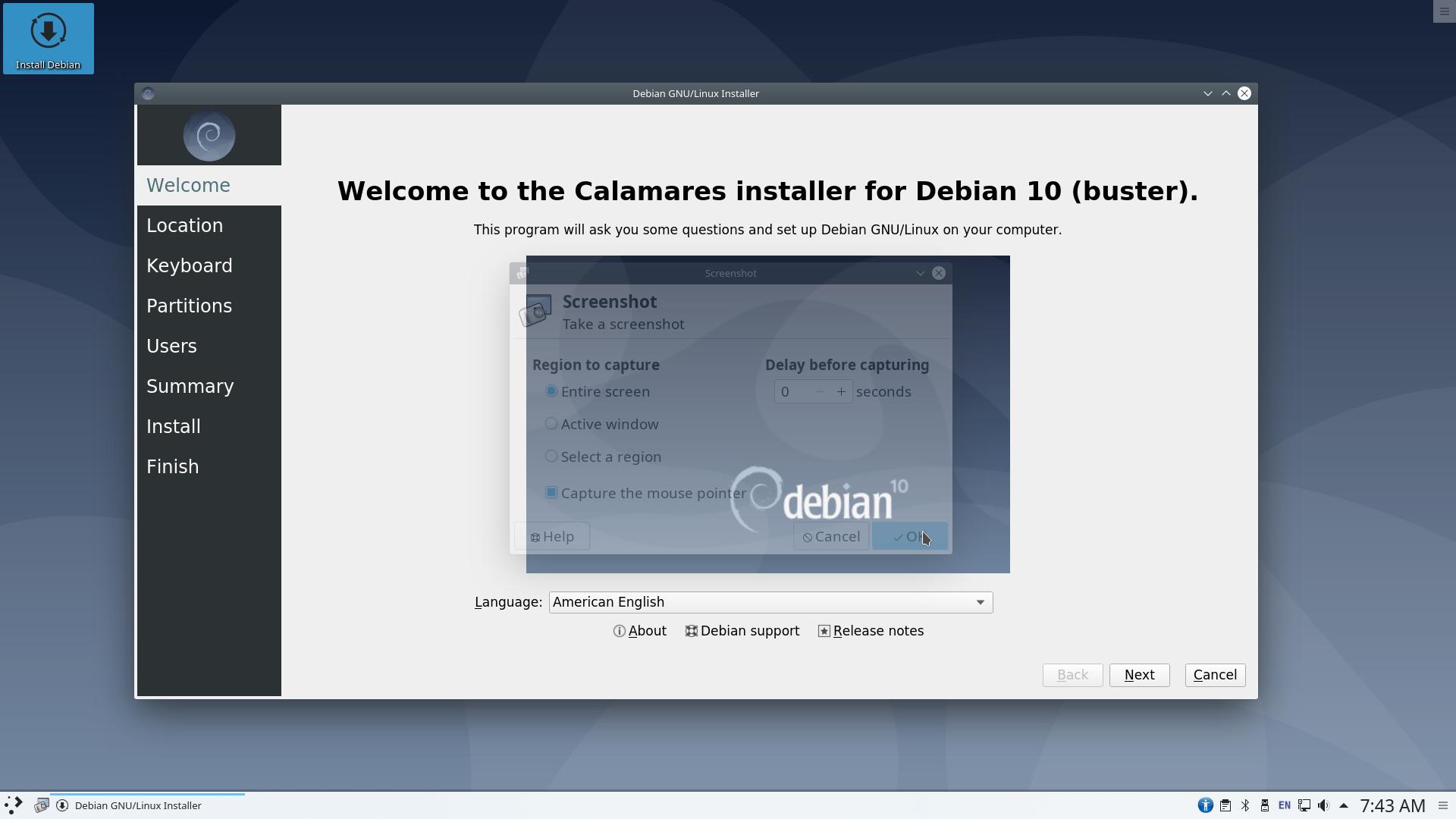 calam - Debian 10.6 Buster νέα εγκατάσταση