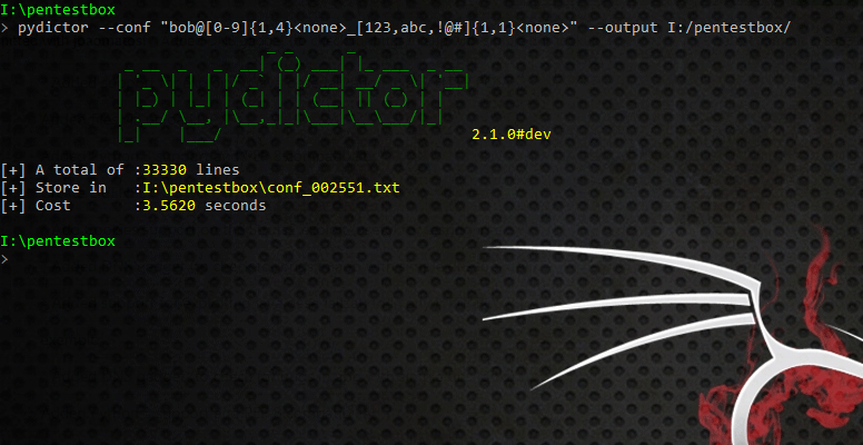 conf - pydictor: Create dictionaries for brute force attacks
