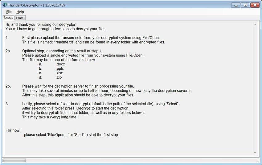 decryptor - Free decoder for ThunderX ransomware