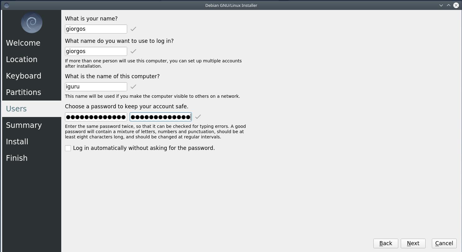pass - Debian 10.6 Buster νέα εγκατάσταση