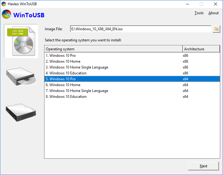select windows 10 edition - WinToUSB 5.8 put Windows in your pocket