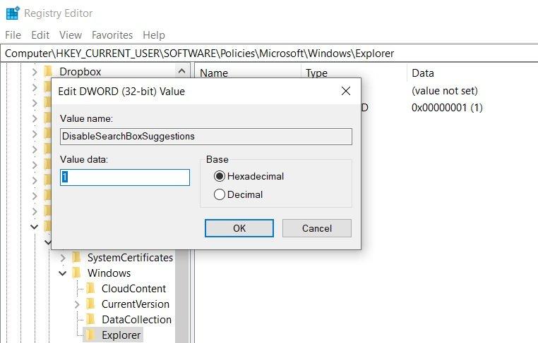 Bing Search - Windows 10 απενεργοποίηση των αναζητήσεων μέσω Bing