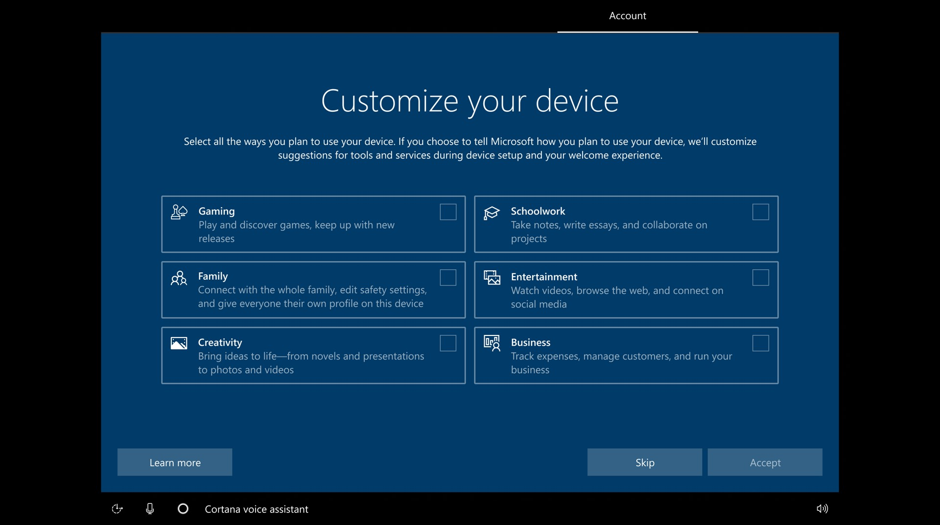 Intent - Windows 10 what the new OOBE feature does