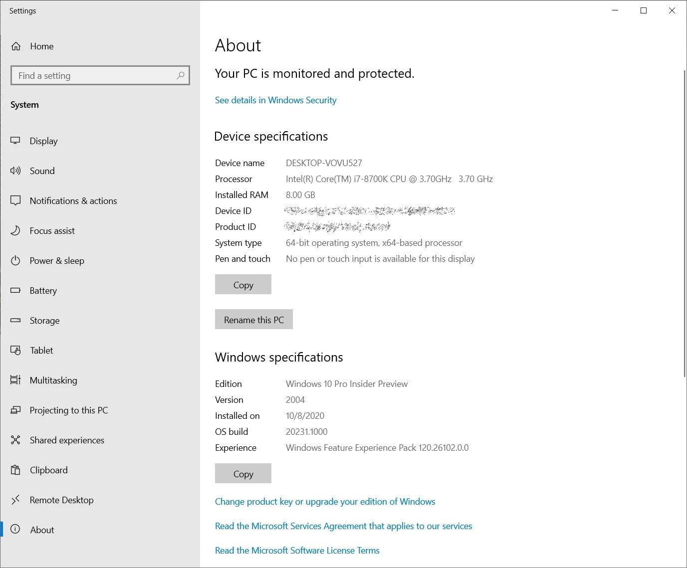 about page - Windows 10 20H2 πάει το System από τον Πίνακα Ελέγχου