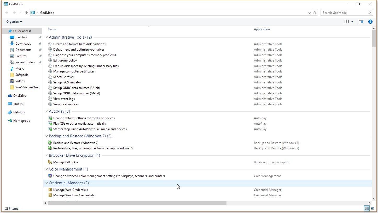 godmode - Windows 10 God Mode και Extended GodMode