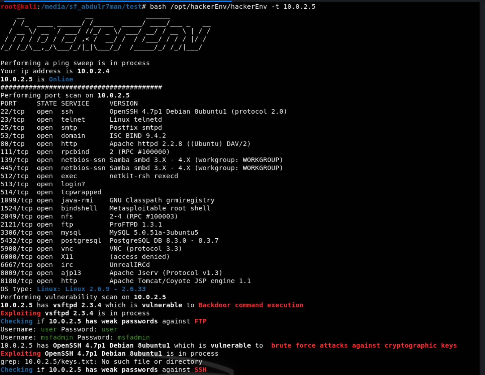 hac - hackerEnv: Vulnerability and exploit scanner
