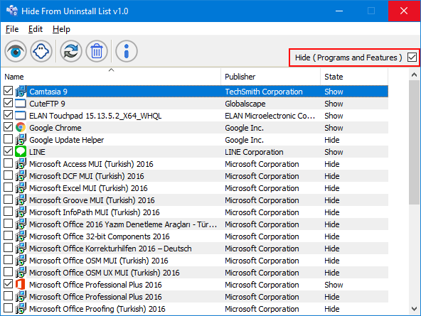 hide programs and features - Sordum κρύψτε προγράμματα από την λίστα εφαρμογών