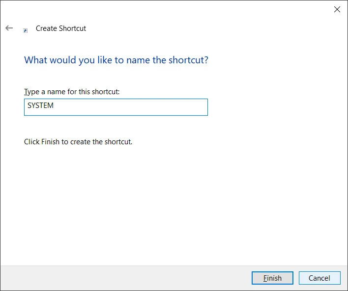 name shortcut - Windows 10 20H2 πάει το System από τον Πίνακα Ελέγχου