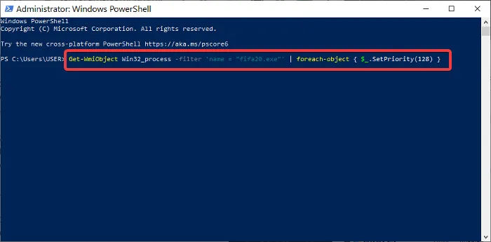 priority in powershell - Change process priority in Windows 10