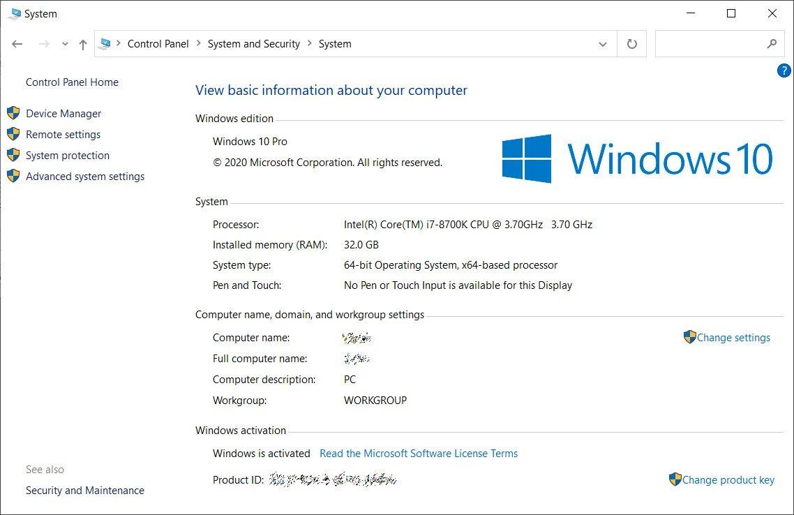 system control panel - Windows 10 20H2 πάει το System από τον Πίνακα Ελέγχου