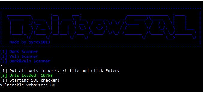 68747470733a2f2f692e696d6775722e636f6d2f4579514c35466c2e706e67 - RainbowSQL: Ένας πολύ γρήγορος dork scanner