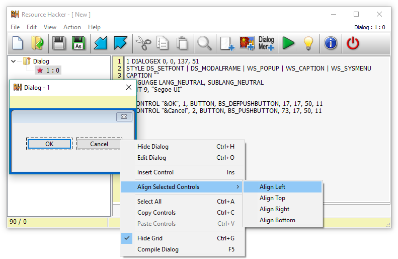 rh dlg edit - Resource Hacker εφαρμογή επεξεργασίας πόρων