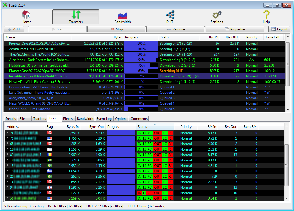 xfers peerstab - Tixati 2.76 P2P client για torrent και magnet links