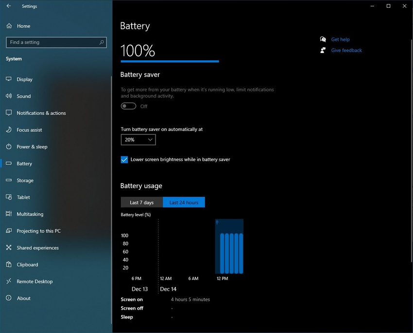 Battery usage settings - Τα Windows 10 αποκτούν μια νέα εύχρηστη δυνατότητα παρακολούθησης της χρήσης ενέργειας