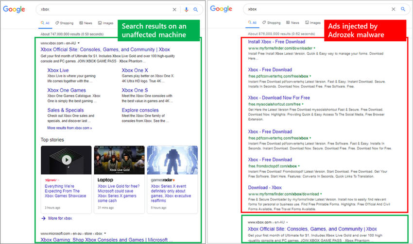Fig1 Comparison of search results - Microsoft warns of Adrozek infecting browsers