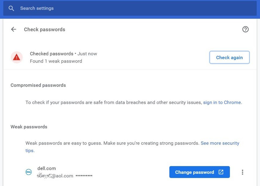 chrome Password - Chrome will alert you to weak passwords