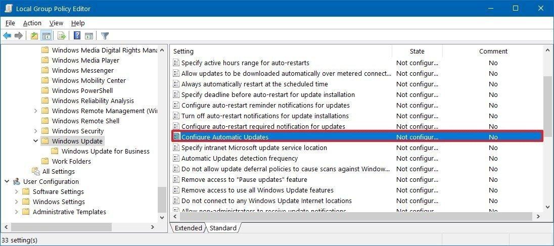 gpedit windows update settings - Windows 10 απενεργοποιήστε τις αυτόματες ενημερώσεις