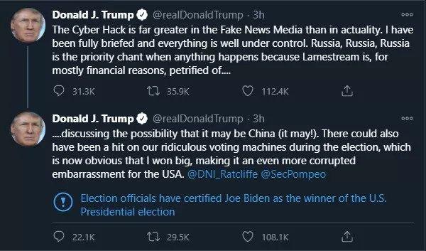 trump tweet - Twitter δηλώνει τον Biden σαν νικητή στα tweets του Trump