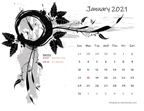 2021 monthly calendar design template 05 - CalendarLabs 2021 δωρεάν εκτυπώσιμα ημερολόγια