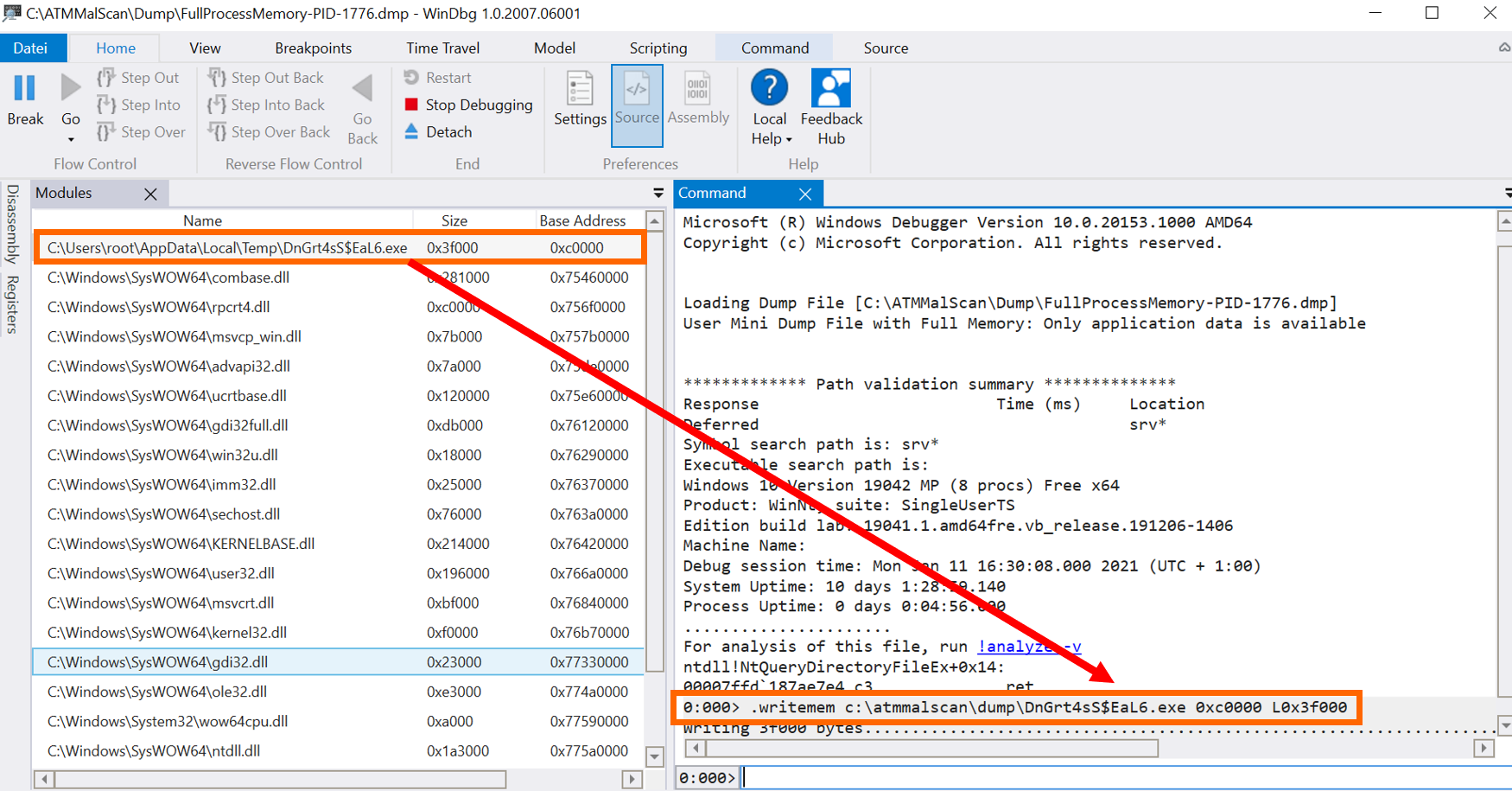 4 Windbg Malware Extraction - ATMMalScan: Βρες malware σε συσκευές ATM