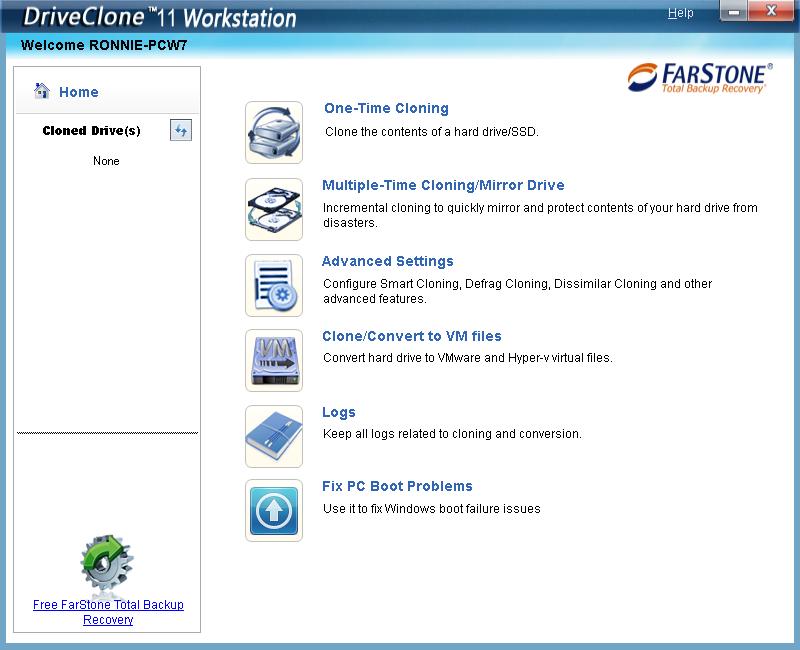 DriveClone screen 01 - DriveClone 11 κλωνοποίηση δίσκου με 3 click