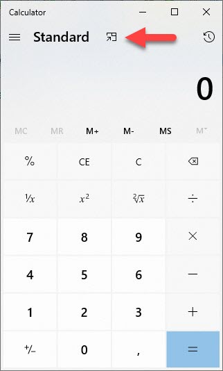 calculator 2 - How to keep the Calculator always on top in Windows 10