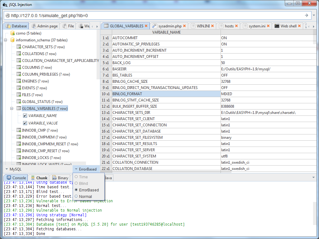 database - jSQL Injection: Automatic SQL database injection with Java