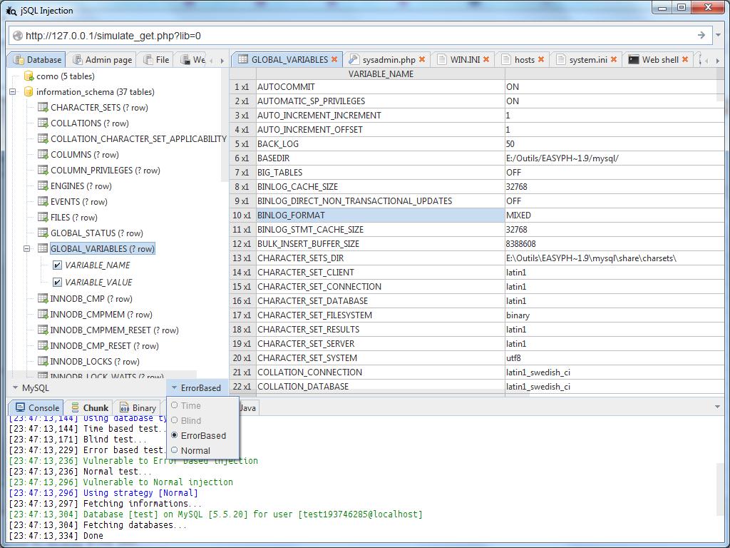 database - jSQL Injection: Αυτόματο SQL database injection με Java