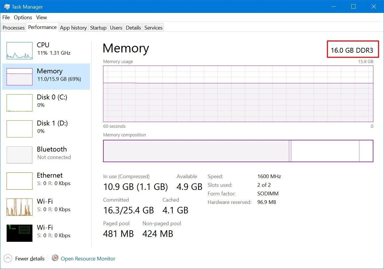 memory taskmanager - Windows 10 Πώς να βρείτε τον τύπο μνήμης DDR