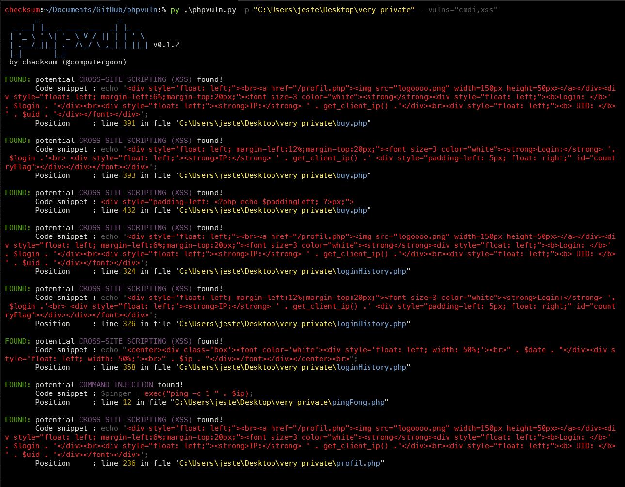 screenshot1 - phpvuln: Εύρεση ευπαθειών σε κώδικα PHP