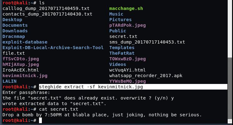 steg5 - The method of Sealing in Kali Linux