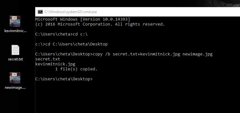 steganography in windows - The method of Steganography in Kali Linux