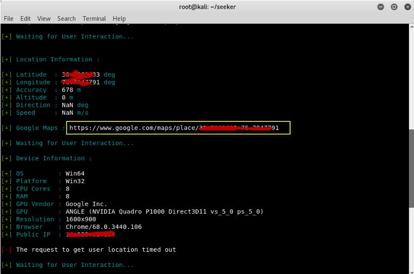 Screenshot 2021 03 10 Find Geolocation with Seeker with High Accuracy Kali Linux 2018 Yeah Hub4 - Βρείτε γεωγραφική τοποθεσία με υψηλή ακρίβεια