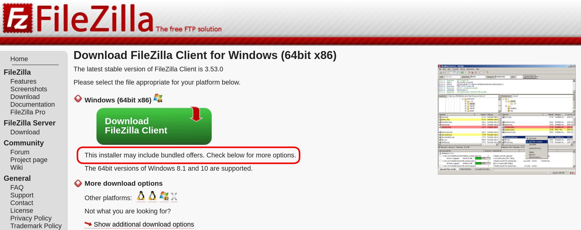 Screenshot 2021 03 27 17 22 46 - FileZilla προσοχή στην πρώτη σελίδα λήψης