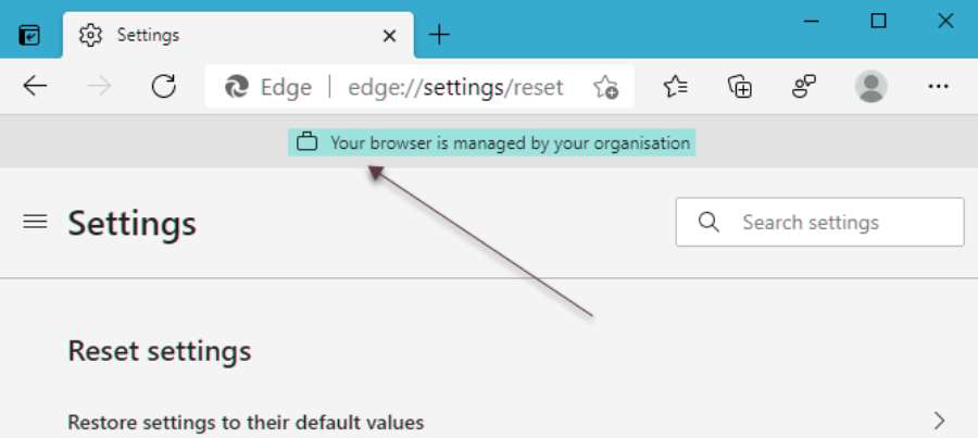 edge managed - Η διαχείριση του browser σας γίνεται από τον οργανισμό σας
